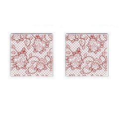 Transparent Decorative Lace With Roses Cufflinks (Square)