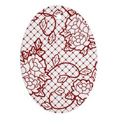 Transparent Decorative Lace With Roses Oval Ornament (two Sides)