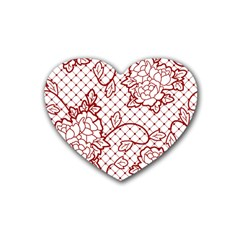 Transparent Decorative Lace With Roses Rubber Coaster (heart)