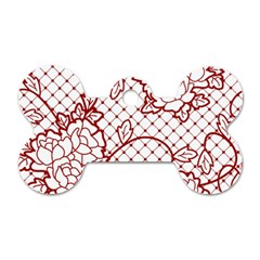 Transparent Decorative Lace With Roses Dog Tag Bone (One Side)