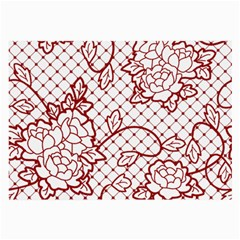 Transparent Decorative Lace With Roses Large Glasses Cloth (2 Side)