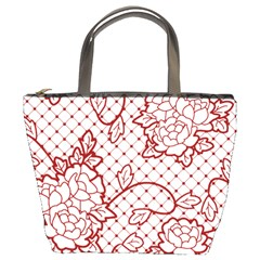 Transparent Decorative Lace With Roses Bucket Bags