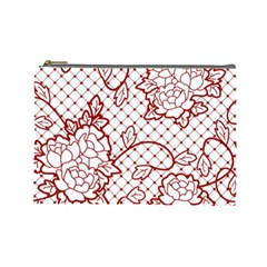Transparent Decorative Lace With Roses Cosmetic Bag (Large)