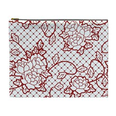 Transparent Decorative Lace With Roses Cosmetic Bag (xl)