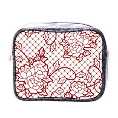 Transparent Decorative Lace With Roses Mini Toiletries Bags