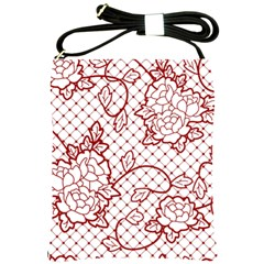 Transparent Decorative Lace With Roses Shoulder Sling Bags