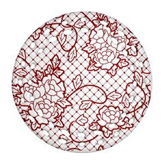 Transparent Decorative Lace With Roses Round Filigree Ornament (Two Sides)