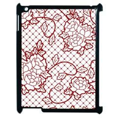Transparent Decorative Lace With Roses Apple Ipad 2 Case (black)