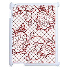 Transparent Decorative Lace With Roses Apple iPad 2 Case (White)