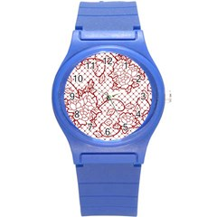 Transparent Decorative Lace With Roses Round Plastic Sport Watch (s)