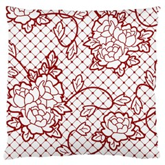 Transparent Decorative Lace With Roses Large Cushion Case (two Sides)