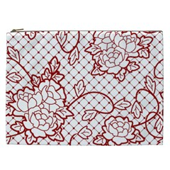 Transparent Decorative Lace With Roses Cosmetic Bag (xxl)