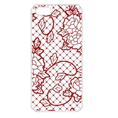 Transparent Decorative Lace With Roses Apple Iphone 5 Seamless Case (white)