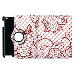 Transparent Decorative Lace With Roses Apple Ipad 2 Flip 360 Case