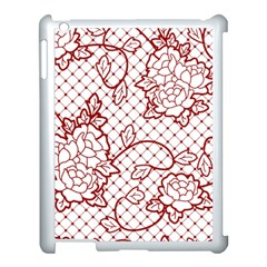 Transparent Decorative Lace With Roses Apple Ipad 3/4 Case (white)