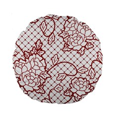 Transparent Decorative Lace With Roses Standard 15  Premium Round Cushions
