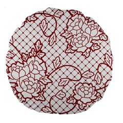 Transparent Decorative Lace With Roses Large 18  Premium Round Cushions