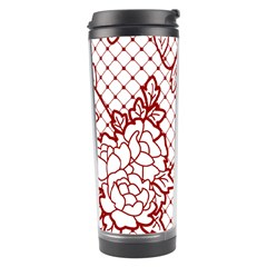 Transparent Decorative Lace With Roses Travel Tumbler