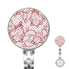 Transparent Decorative Lace With Roses Stainless Steel Nurses Watch