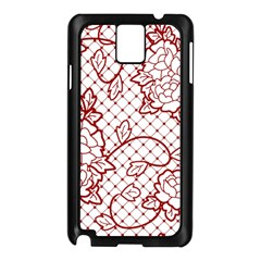Transparent Decorative Lace With Roses Samsung Galaxy Note 3 N9005 Case (black)