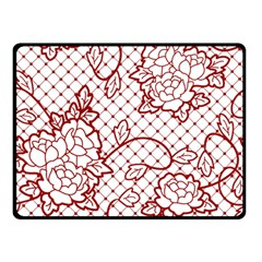 Transparent Decorative Lace With Roses Double Sided Fleece Blanket (small)