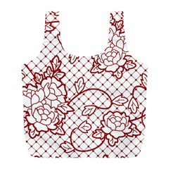 Transparent Decorative Lace With Roses Full Print Recycle Bags (l)