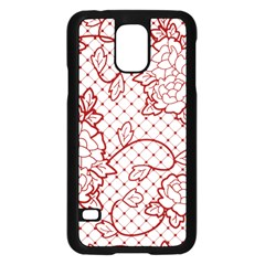 Transparent Decorative Lace With Roses Samsung Galaxy S5 Case (black)