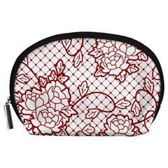 Transparent Decorative Lace With Roses Accessory Pouches (large)