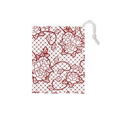 Transparent Decorative Lace With Roses Drawstring Pouches (small)