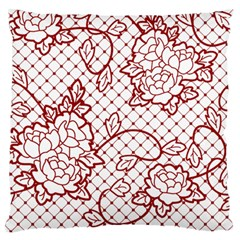 Transparent Decorative Lace With Roses Large Flano Cushion Case (one Side)