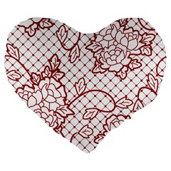 Transparent Decorative Lace With Roses Large 19  Premium Flano Heart Shape Cushions