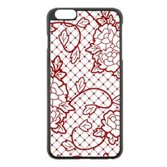 Transparent Decorative Lace With Roses Apple Iphone 6 Plus/6s Plus Black Enamel Case