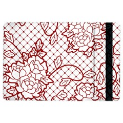 Transparent Decorative Lace With Roses Ipad Air 2 Flip