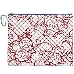 Transparent Decorative Lace With Roses Canvas Cosmetic Bag (XXXL)