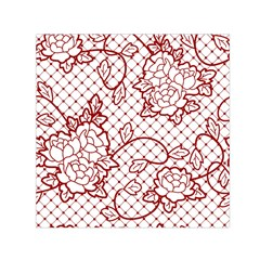 Transparent Decorative Lace With Roses Small Satin Scarf (square)
