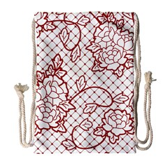 Transparent Decorative Lace With Roses Drawstring Bag (Large)