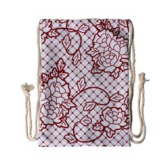 Transparent Decorative Lace With Roses Drawstring Bag (Small)