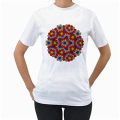 Penrose Tiling Women s T-Shirt (White) (Two Sided)