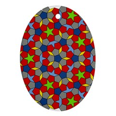 Penrose Tiling Oval Ornament (two Sides)