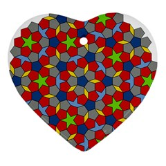Penrose Tiling Heart Ornament (Two Sides)