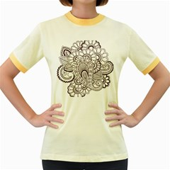 Henna Line Art Clipart Women s Fitted Ringer T-Shirts