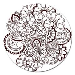 Henna Line Art Clipart Magnet 5  (Round)