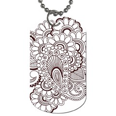 Henna Line Art Clipart Dog Tag (one Side)
