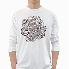 Henna Line Art Clipart White Long Sleeve T Shirts