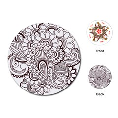 Henna Line Art Clipart Playing Cards (Round)
