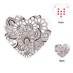 Henna Line Art Clipart Playing Cards (heart)