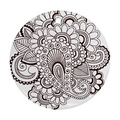 Henna Line Art Clipart Round Ornament (two Sides)