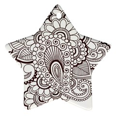 Henna Line Art Clipart Star Ornament (two Sides)