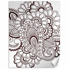 Henna Line Art Clipart Canvas 18  x 24