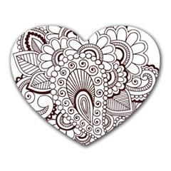 Henna Line Art Clipart Heart Mousepads